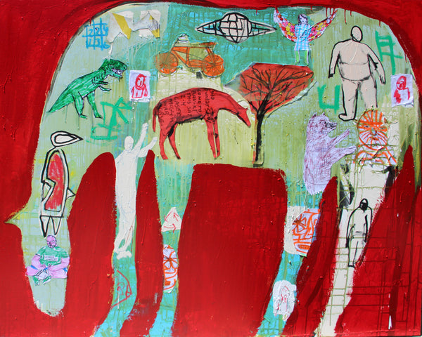 Casey McGlynn - Dinosaur Horse, Mixed Media on Canvas, Unframed,  - Bau-Xi Gallery