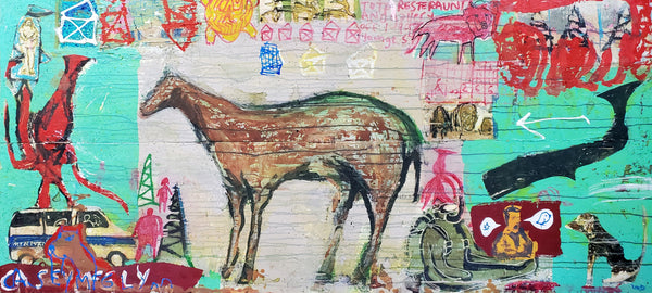 Casey McGlynn Artwork | Colourful, symbolic, and autobiographical mixed media paintings that depict music icons, horses, boats, and numbers.