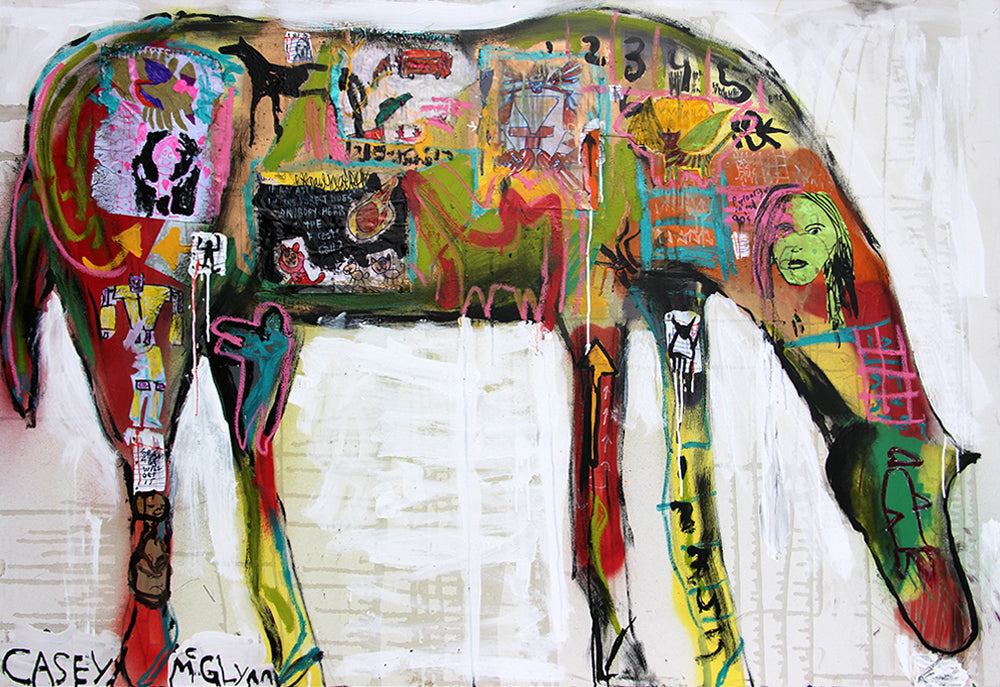 Casey McGlynn - If an Asteroid Falls to Earth this Horse Grows Wings, Mixed Media on Canvas, Unframed,  - Bau-Xi Gallery