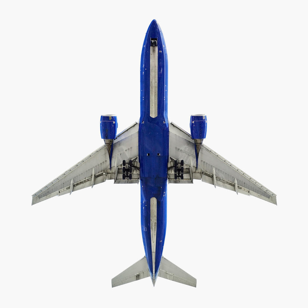 Jeffrey Milstein - United Airlines Boeing 777-200 - Available in 3 sizes, Archival Inkjet Print Mounted on Archival Substrate, Framed in White with Plexiglass,  - Bau-Xi Gallery
