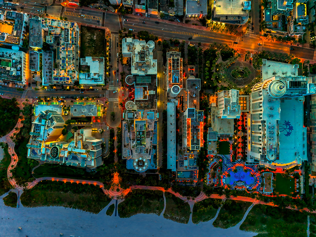 Jeffrey Milstein - Collins Avenue, Miami - Available in 5 sizes, Archival Inkjet Print Mounted on Archival Substrate, Framed in White with Plexiglass,  - Bau-Xi Gallery