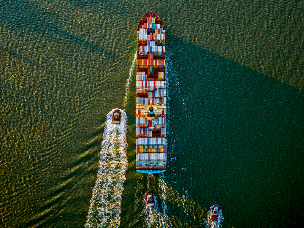 Jeffrey Milstein - Container Ship and Tugs, Upper Bay, NY - Available in 5 sizes, Archival Inkjet Print Mounted on Archival Substrate, Framed in White with Plexiglass,  - Bau-Xi Gallery