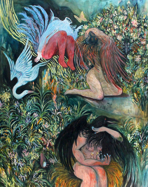 Michelle Nguyen Artwork | Dark, whimsical paintings of figures, foliage and plants that are dense with myth and symbolism.