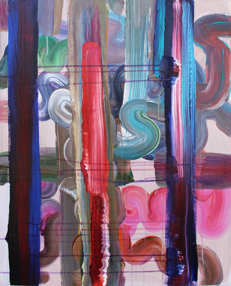 Pat O'Hara Artwork Bands #2 | Colourful, gestural abstractions composed of drips and splatters of paint.