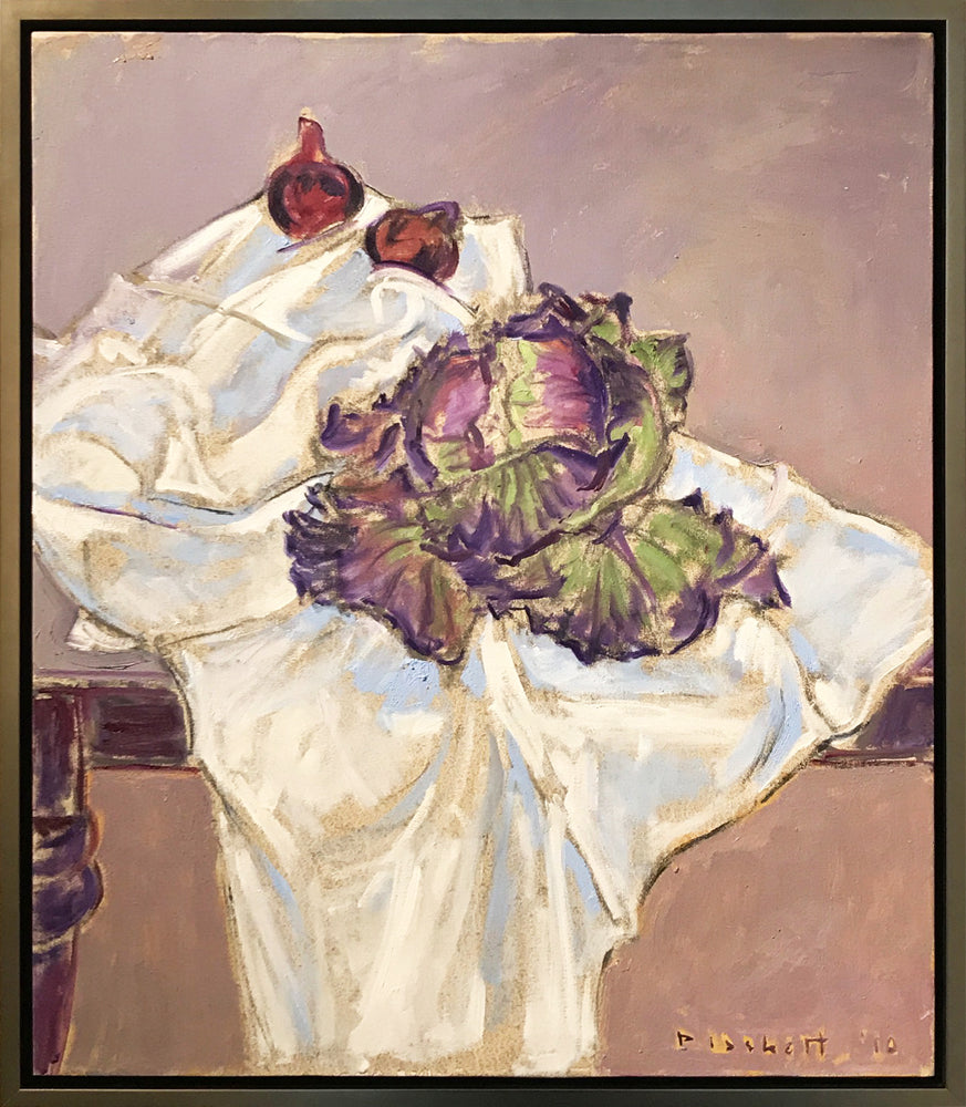 Joseph Plaskett - Cabbage and Onions (3), Oil on Canvas, Framed in Brushed Silver,  - Bau-Xi Gallery
