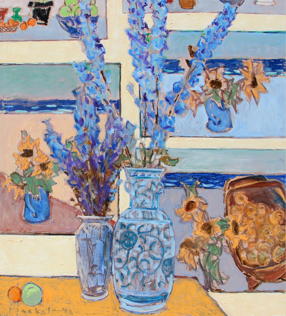 Joseph Plaskett Artwork Delphinium With Paintings 2 | Impressionist still life, landscape, and figurative oil paintings, later informed by Modernism, seeing the addition of geometric shapes and abstract elements.