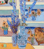 Joseph Plaskett - Delphinium With Paintings 2, Oil on Canvas, Framed in Brushed Silver,  - Bau-Xi Gallery
