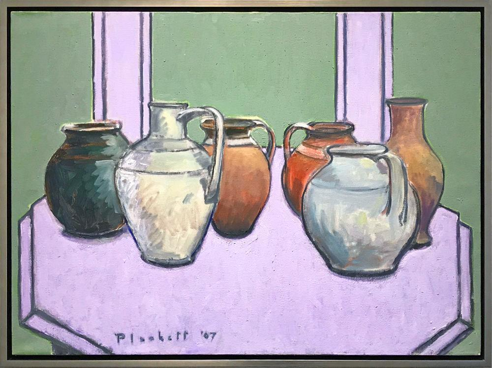 Joseph Plaskett - Pots on Octagonal Table (4), Oil on Canvas, Floating in Brushed Silver Frame,  - Bau-Xi Gallery