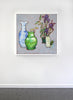 Joseph Plaskett - Still Life with Purple Irises, Oil on Canvas, Floating in White Frame,  - Bau-Xi Gallery