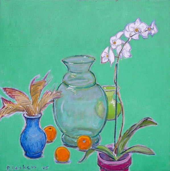 Joseph Plaskett - Still Life with White Orchid 1, Oil on Canvas, Framed in Brushed Silver,  - Bau-Xi Gallery