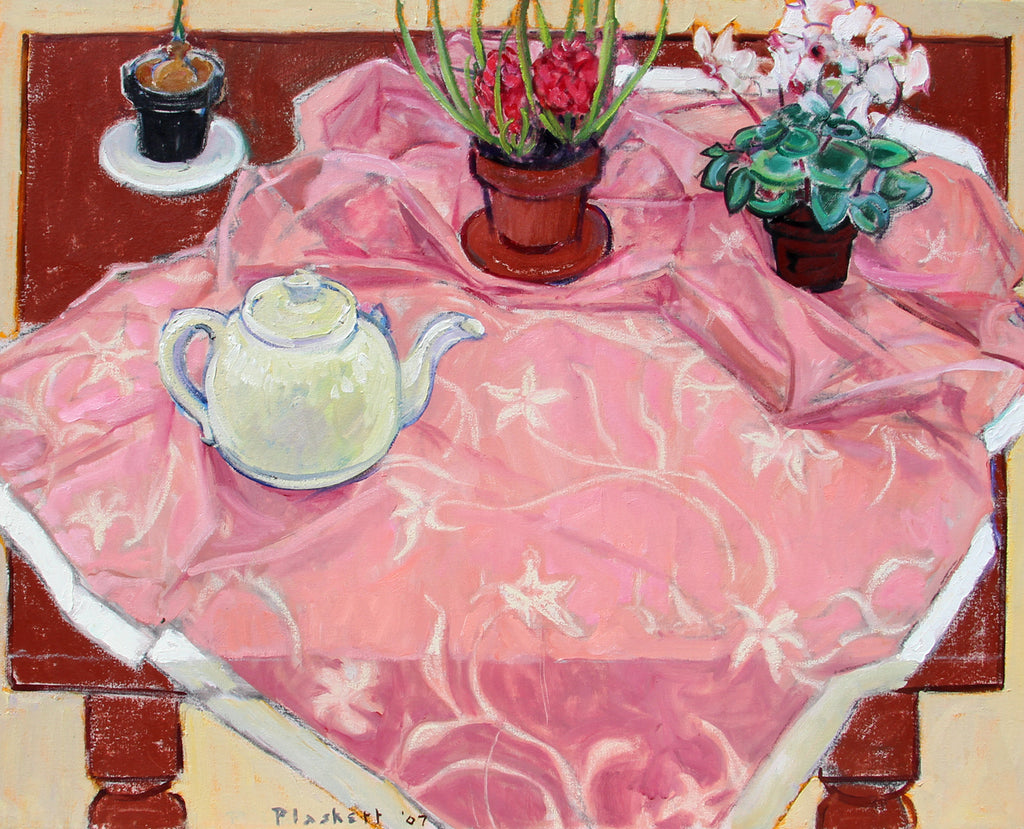 Joseph Plaskett Artwork The Pink Tablecloth | Impressionist still life, landscape, and figurative oil paintings, later informed by Modernism, seeing the addition of geometric shapes and abstract elements.