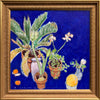 Joseph Plaskett - White Amaryllis, Palm, and Melon, Oil on Canvas, Framed in Brushed Gold,  - Bau-Xi Gallery