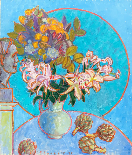 Joseph Plaskett - Artichoke, Lilies, Bouquet & Bust of Artist, Oil on Canvas, Floating in Brushed Silver Frame,  - Bau-Xi Gallery