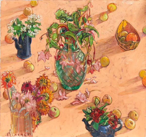 Joseph Plaskett - Begonia, Dahlia, Red Rose, Apples, Oil on Canvas, Unframed,  - Bau-Xi Gallery