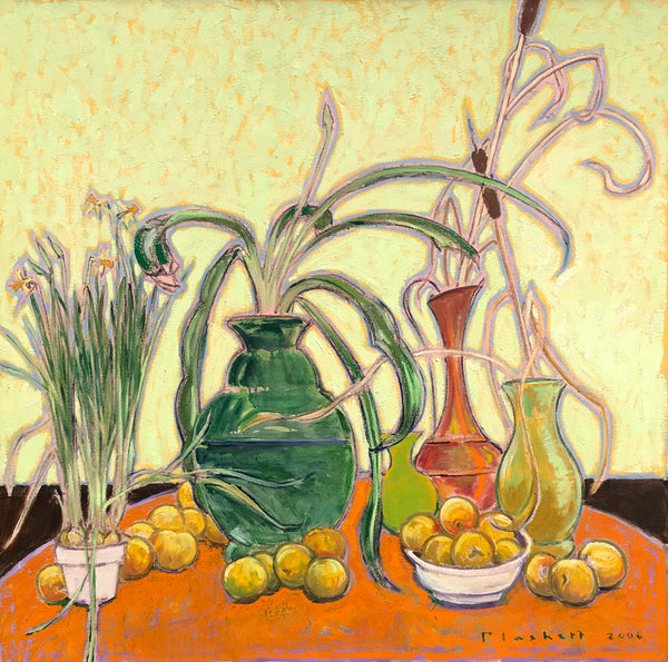 Joseph Plaskett - The Orange Table, Oil on Canvas, Floating in Brushed Gold,  - Bau-Xi Gallery