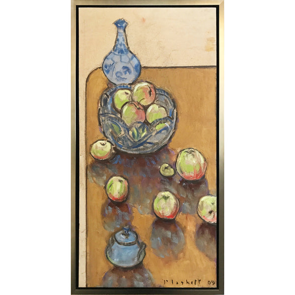 Joseph Plaskett - Vertical Table with Apples (1), Oil on Canvas, Framed in Brushed Silver,  - Bau-Xi Gallery