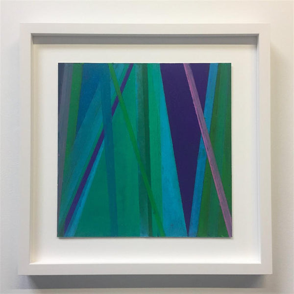 Vicky Christou - Purple Groove, Oil Pastel on Paper, Framed in White with Museum Glass,  - Bau-Xi Gallery