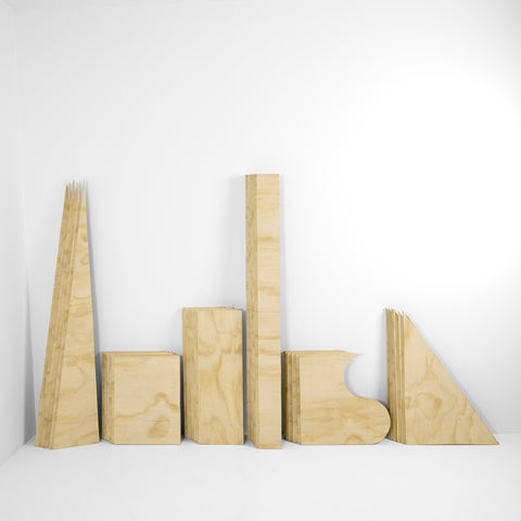 Six Sheets of Plywood, Cut Into 36 - Version 1 - 3 sizes, $1,350-$4,300