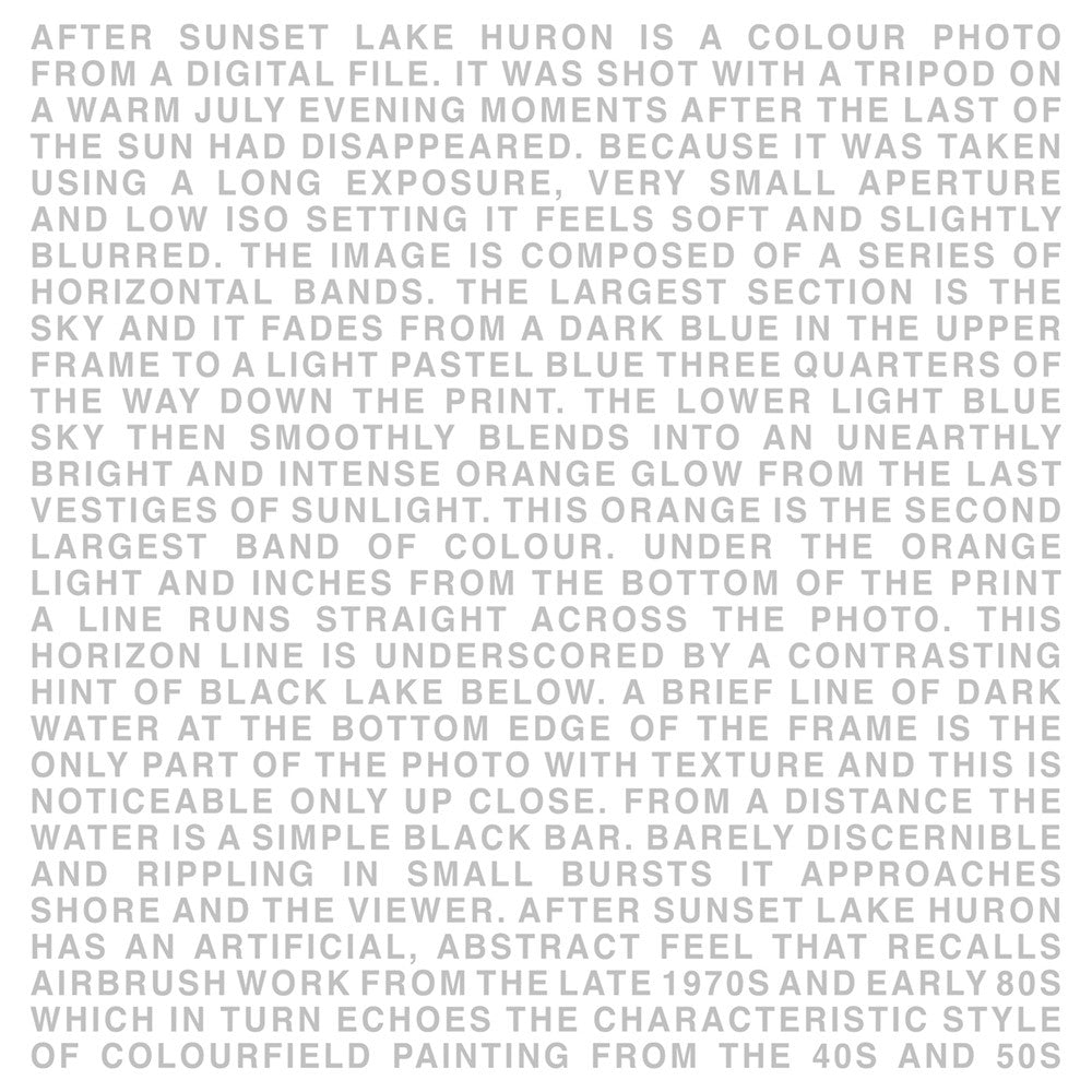 Chris Shepherd - Huron After Sunset Text, Chromogenic Print Mounted to Archival Substrate, Framed in White with Glass,  - Bau-Xi Gallery