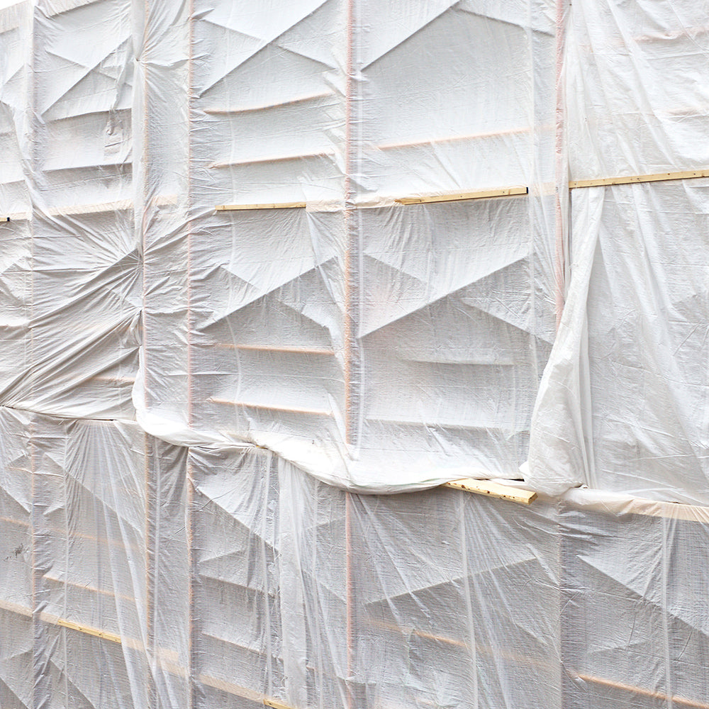 Chris Shepherd - White Tarped Scaffolding, Archival Pigment Print Mounted to Archival Substrate, Framed in White with Glass,  - Bau-Xi Gallery