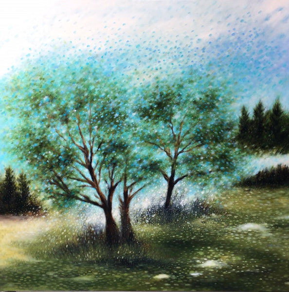 Sheri Bakes Artwork | Soft moody calm pastel impressionist landscape oil painting.