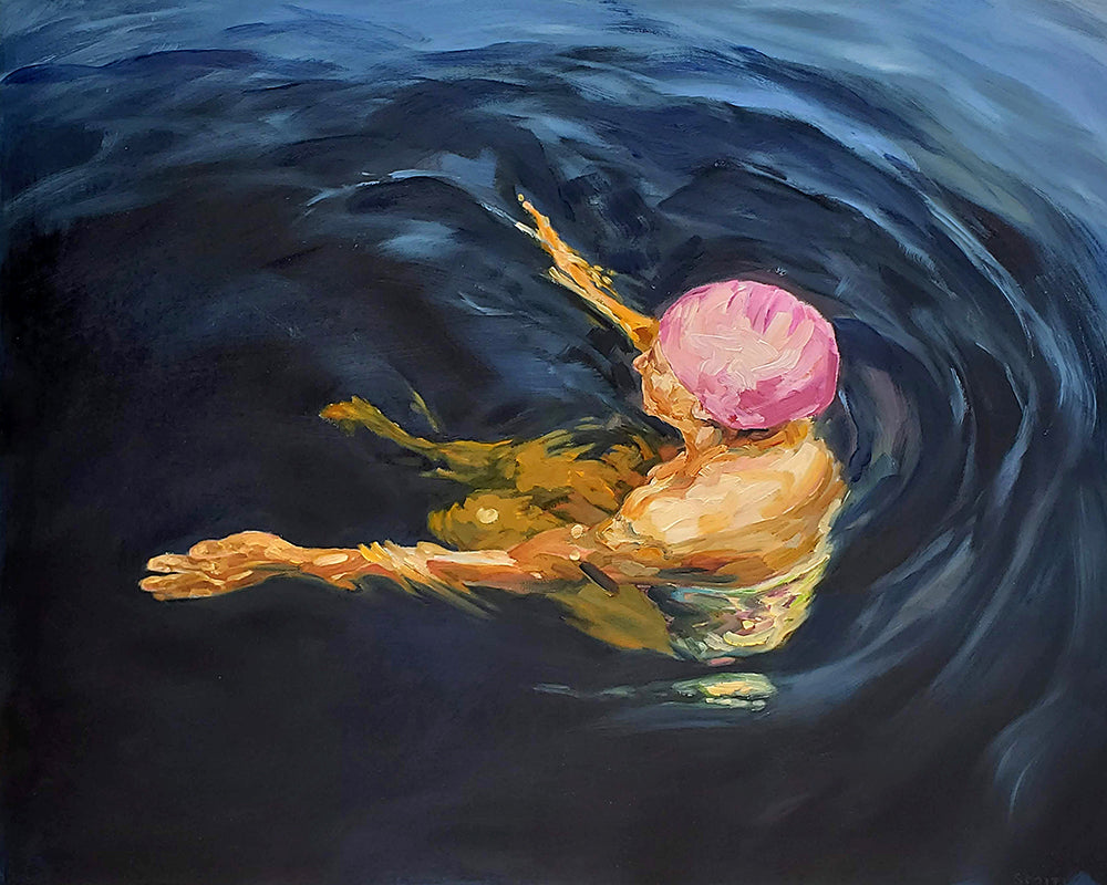 Vicki Smith Artwork | Paintings of peaceful serene female figures swimming or floating in lakes and pools.