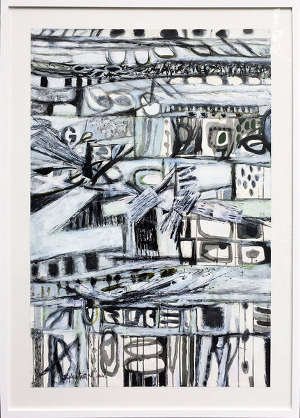 Sylvia Tait - Chitarra, Acrylic on Archival Paper, Framed in White with Glass,  - Bau-Xi Gallery