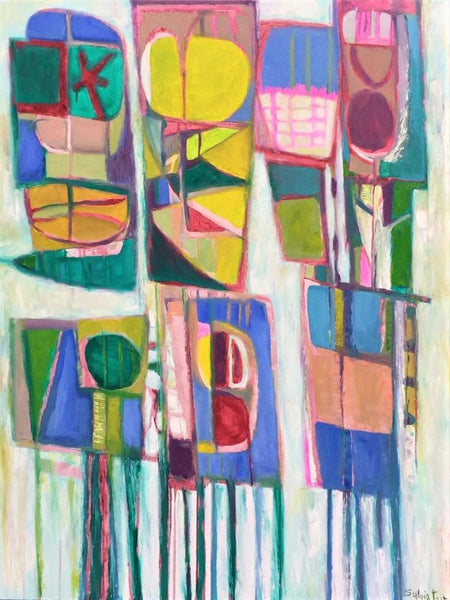 Sylvia Tait - Quintet, Oil on Canvas, Unframed,  - Bau-Xi Gallery