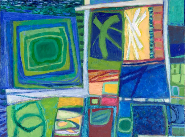 Sylvia Tait - The Green and Blue of Things, Oil on Canvas, Unframed,  - Bau-Xi Gallery