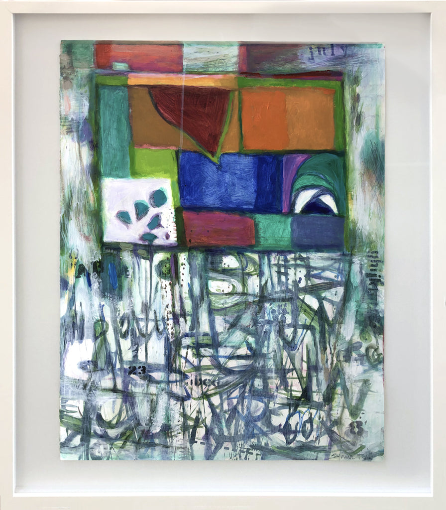 Sylvia Tait - Variations on a Theme-July, Acrylic on Archival Paper, Framed in White with Glass,  - Bau-Xi Gallery