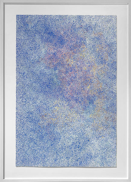 Vicky Christou - Blue Sky Miracle, Gouache on Paper Framed in White with Glass,  - Bau-Xi Gallery