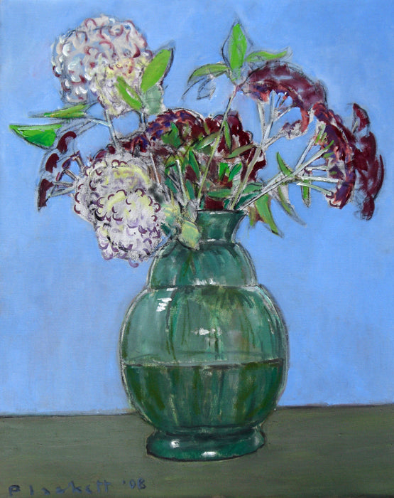Joseph Plaskett - Hydrangeas and Sedum, Oil on Canvas, Floating in Brushed Silver Frame,  - Bau-Xi Gallery