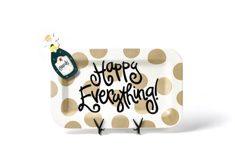 Coton Colors CC PLA HAPEV-165-NEU Neutral Dot Happy Everything Mini Rectangle Platter W/Party Hat Attachment