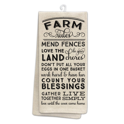 Occasionally Made OM-Farm Rules Kitchen Tea Towel