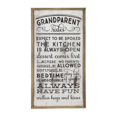 Occasionally Made OM-Grandparents Rules Wooden Wall Art