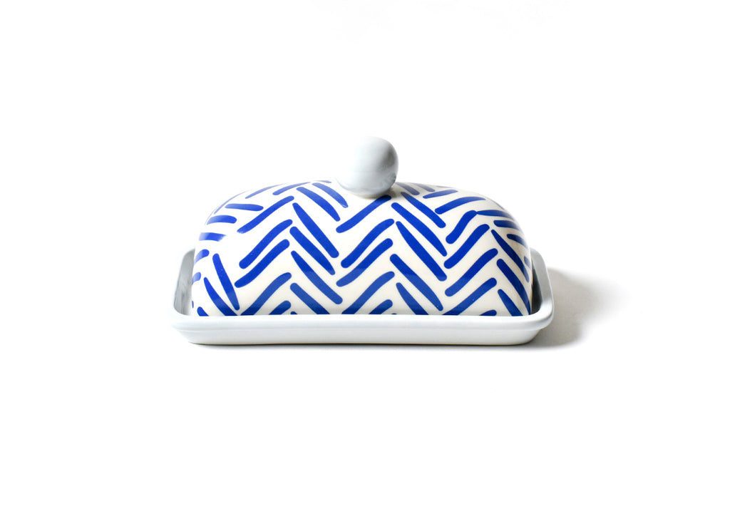 Coton Colors CC -HER-DMBDISH-IND Herringbone Domed Butter Dish Indigo