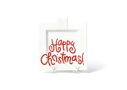 Coton Colors CC-HAPCHR-13SQ-WHT White Small Dot Happy Christmas Big Square Platter