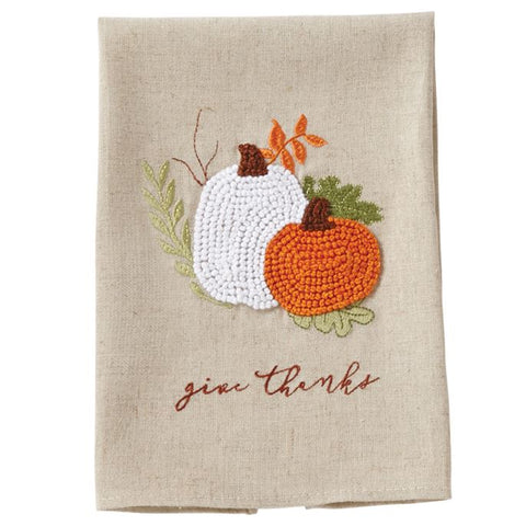 Mud Pie MP 44000003G Give Thanks French Knot Towel