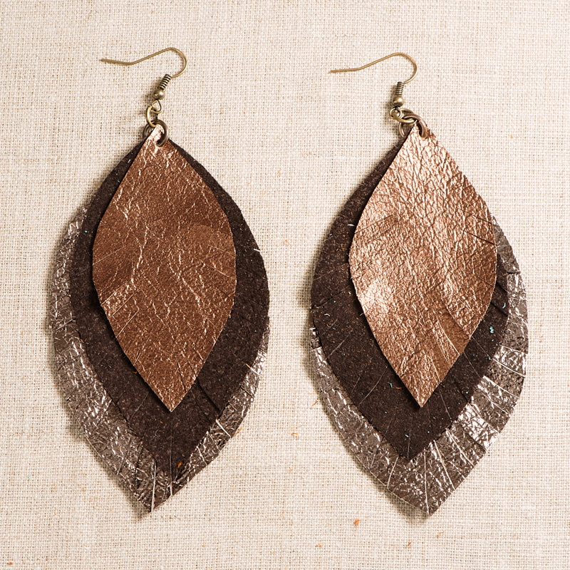 Glory Haus Inc. - GH-8680003 Metallic 3 Layer Leather Earring