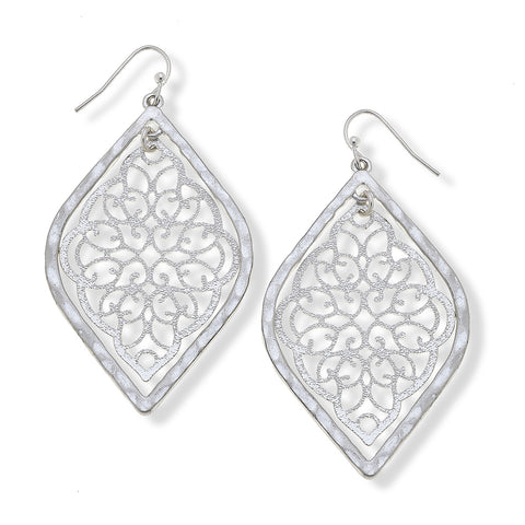 Canvas Jewelry CJ 18366 Ivy Filigree Earrings in Worn Silver