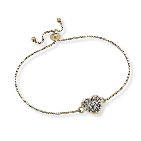 Canvas Jewelry CJ 19660 Eloise Heart Bolo Bracelet in Worn Gold
