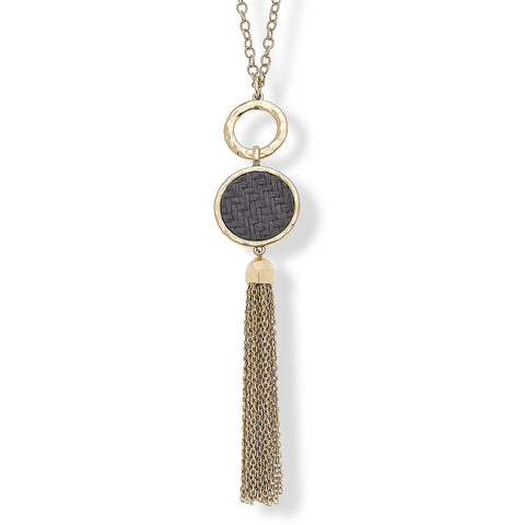 Canvas Jewelry CJ 19095 Lorelai Tassel Necklace in Grey Raffia 30