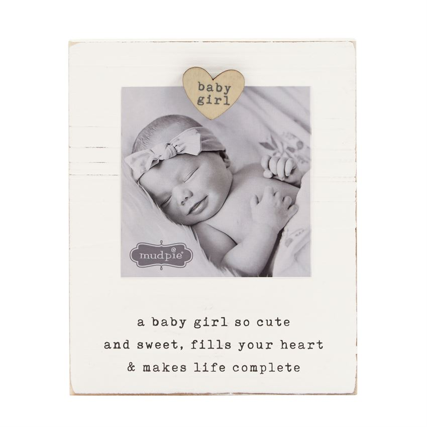 Mud Pie MP 46900185 Baby Girl Magnet Wood Frame