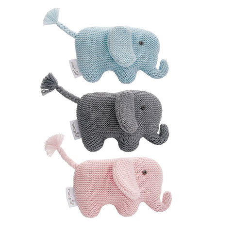 Mud Pie MP 12110022P Pink Knit Elephant Rattle