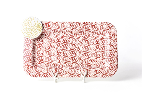 Coton Colors CC 165-SDOT-RED Red Small Dot Mini Entertaining Platter W/Happy Everything Attachment