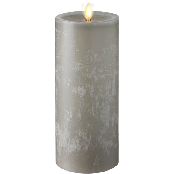 RAZ Imports RZ 36069 3.5x9 Moving Flame Grey Chalky Pillar Candle