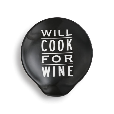 DEMDACO 1004180156 Will Cook For Wine Ceramic Spoon Rest