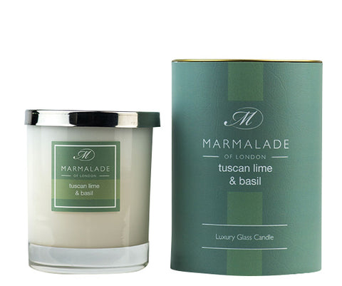 Marmalade of London 83-12170 Tuscan Lime and Basil Glass Candle Gift Boxed