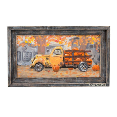 Glory Haus Inc. GH 11100010 Thankful Pumpkin Truck Framed Canvas