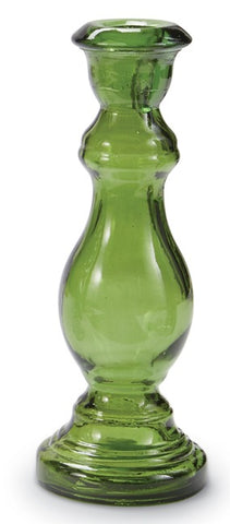 Mud Pie MP 40960002G Green Glass Taper Holder